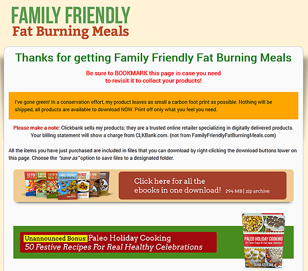 Family Friendly Fat Burning Meals overview
